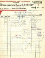 Monceau S/Sambre - 1946 - Etablissement Emile Bairiot - Fournitures Générales Pour - Cars