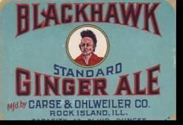 Advertising Label Blackhawk Ginger Ale Carse &amp  Ohlweiler Com