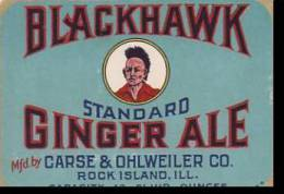 Advertising Label Blackhawk Ginger Ale Carse & Ohlweiler Company Rock Island Illinois - Labels