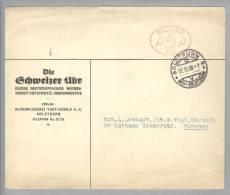 Motiv Uhr Zeitschrift 1938-03-17 Die SchweizerUhr Firmenfreistempel Auf Brief Nach München - Horlogerie