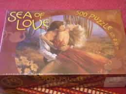 """Super Puzzle Rond """" Sea Of Love """" Illustration Style Romantique Kitsch 500 Pièces - Puzzles"""