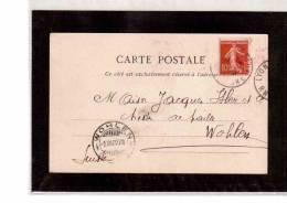 TEM8174  -    CARTE POSTALE  AFFRANCATA CON  IL 10 C. (CAT.UNIFICATO  135) -  LYON  4.12.1909 - Marcophilie (Lettres)