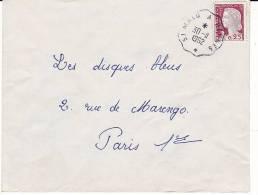 Lettre 1962 Oblitération Ondulée Plastique Convoyeur ST MALO A RENNES Sur Marianne De Decaris - 1961-....