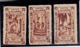 ALGERIE -3 VIGNETTES EDITEES POUR LE CENTENAIRE 1830-1930