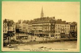 44 NANTES - L'esplanade, La Rue De Gorges. Le Clocher De L'église Saint-Nicolas - Nantes