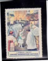 VIGNETTE  LISIEUX 1937 -CONGRES EUCHARISTIQUE NATIONAL. - Commemorative Labels