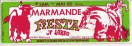 Date, Sam 1er Mai 82, Fiesta Marmande (47) Vaches Landaises, Cascade équestres - Stickers