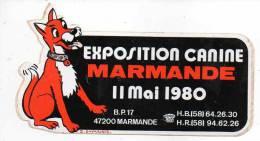 Date - Exposition Canine Marmande 11 Mai 1980 (47200) - Stickers