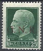 1944 RSI GNR BRESCIA I TIPO 1° TIRATURA 25 CENT MNH ** - RSI049-2 - 4. 1944-45 Repubblica Sociale