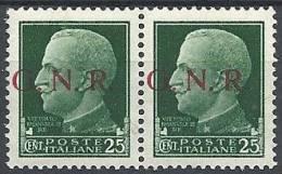 1944 RSI GNR BRESCIA I TIPO 2° TIRATURA 25 C COPPIA VARIETà MNH ** - RSI049-10 - Ongebruikt