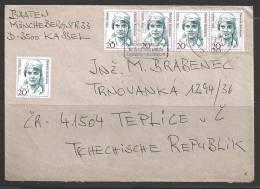1993 Five 20pf Aussem, Kassel To Czech Republic - [7] West-Duitsland
