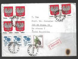 1996 Katowice (040596) Express Sticker To Praha Czech Republic - Lettres & Documents
