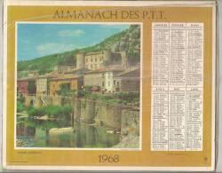 1968 DOUBLE CALENDRIER POSTE ALMANACH DES P.T.T 08 ARDENNES OBERTHUR - Big : 1941-60