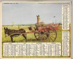 1977 CHIEN CHAT ANE DOUBLE CALENDRIER POSTE ALMANACH DES P.T.T 08 ARDENNES OBERTHUR - Big : 1941-60