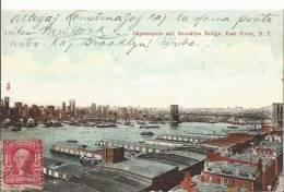 Skyscrapers And Brooklyn Bridge ,East River  ,N.Y Post Card 1909 - Unclassified