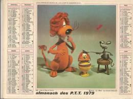 1979 LOEKY LE LION  ET PIEP LA SOURIS TF1 DOUBLE CALENDRIER POSTE ALMANACH DES P.T.T 08 ARDENNES OLLER - Big : 1941-60