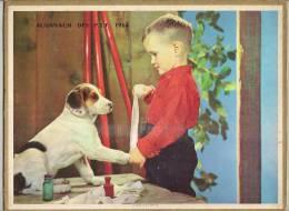 1964  DOUBLE  CHIEN OISEAU GARCON FILLE CALENDRIER POSTE ALMANACH DES P.T.T - Big : 1941-60