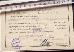 Permis De Chasse Thionville 1941 Pour Garde Forestier à Metzervisse Complet  Avec Tampon - Historical Documents