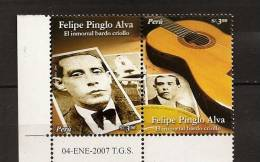 Perou Peru 2007 N° 1630 / 1 ** Musique, Felipe Pinglo Alva, Auteur, Compositeur, Photographies, Guitare - Peru