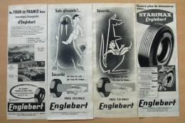Lot De 4 Pubs Papier 1958  Automobile PNEU ENGLEBERT Usine Clairoix Les Compiegne Oise - Advertising