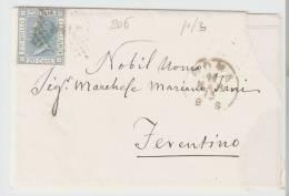 Lettera    Roma – Ferentino 1873   Annullo Numerale A Punti N.  206 - 1861-78 Vittorio Emanuele II