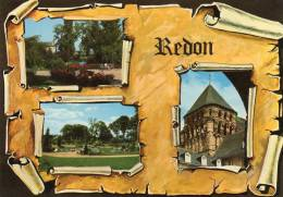 [35] Ille Et Vilaine > REDON - Multi Vues  Façon Parchemin (Square Général Le Brigant,Tour Romane..) * PRIX FIXE - Redon