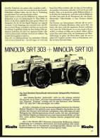 Reklame Werbeanzeige 1974 ,   Minolta Kamera SR-T 303 + Minolta SR-T 101 - Photographica