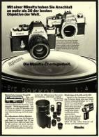 Reklame Werbeanzeige 1976 ,   Minolta Kameras XE-1  +  SRT 303b  ,  Die Minolta-Überlegenheit - Photographica