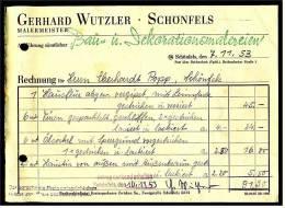 1953 Rechnung Schönfels Bei Zwickau - Von Malermeister Gerhard Wutzler - Deutschland