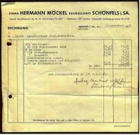 1953 Rechnung Schönfels / Sa. Bei Zwickau - Von Baugeschäft Hermann Möckel - Deutschland