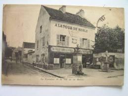 Cpa, Très Belle Vue Animée, Plessis Bouchard, La Fontaine Et La Rue De La Mairie, A La Tour De Nesle - France