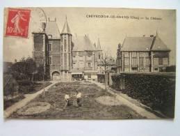 Cpa, Très Belle Vue Animée, Crèvecoeur Le Grand, Le Château - Crevecoeur Le Grand