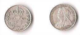 GRANDE - BRETAGNE   3  PENCE  1900  VICTORIA     ARGENT  QUALITE !   RARE ! - 1816-1901 : Frappes XIX° S.