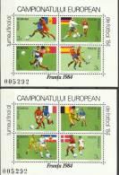 RO 1984-4050-7 CUP UEFA FRANCE, ROMANIA, 2S/S, MNH - Fußball-Europameisterschaft (UEFA)