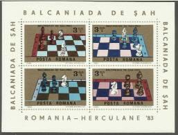 RO 1984-4019-22 BALCAN CHESS CUP, ROMANIA, S/S, MNH - Schach