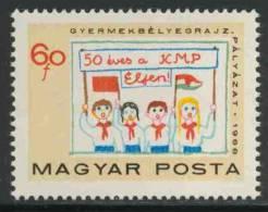 Hungary Ungarn 1968 Mi 2461 ** Children With Flags And Banner- Drawing /Transparent + Fahnen- Kinderzeichnungen - Postzegels