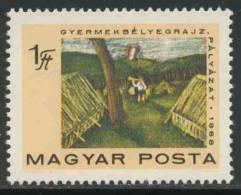 Hungary Ungarn 1968 Mi 2462 ** Pioneer Bugler In Camp, Flag- Drawing/ Kinderzeltlager, Flagge, Kinderzeichnungen - Postzegels