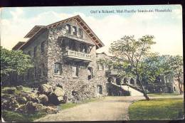 HONOLULU  Girls School     Old Postcard - Honolulu