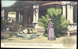 HONOLULU  Princess Kaiulani Feeding The Peacocks At Ainahau    Old Postcard    Pre-1904  Undivided Back - Honolulu