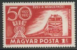 Hungary Ungarn 1972 Mi 2803 A ** Class M62 Diesel Train And U.I.C. Emblem – 50th Ann. Int. Railway Union - Treinen