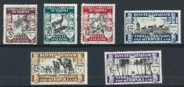 LIBIA - 3° FIERA DI TRIPOLI - ANNO 1929 - NUOVA GOMMA INTEGRA  ** - MNH  6 VAL.FRESCHISSIMA - EX COLONIE - SOGGETTI VARI - Libia