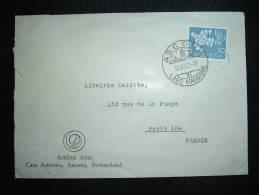 LETTRE TP EUROPA 50 SUISSE POUR FRANCE OBL. 10 XII 61 ASCONA LAGO MAGGIORE - 1961