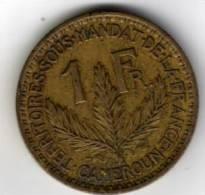 CAMEROUN -  1 FRANC - (territoire Sous Mandat ) - 1925 - Bronze- Aluminium - TTB - Cameroun