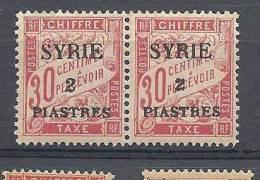 SYRIE  TAXE  N�  24  S DE PIASTRES RENVERSE SUR TIMBRE DE GAUCHE   NEUF**  LUXE