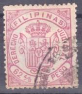 1882 - FILIPINAS - FISCALES - DERECHOS JUDICIAL - 62 4/8 CUARTOS DE PESO - Philippines