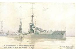 CPA LEGA NAVALE ITALIANA Bateau De Guerre Italien - Guerra