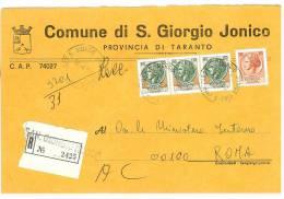 SAN GIORGIO JONICO  74027  PROV. TARANTO  - ANNO 1980  - R  - STORIA POSTALE DEI COMUNI D´ITALIA - POSTAL HISTORY - Affrancature Meccaniche Rosse (EMA)