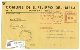 SAN FILIPPO DEL MELA   98044  PROV. MESSINA - ANNO 1981  - AMR  R  - STORIA POSTALE DEI COMUNI D´ITALIA - POSTAL HISTORY - Affrancature Meccaniche Rosse (EMA)