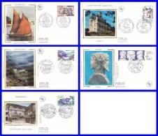 2545-2546-2547-2548-2550 Sur 5 FDC Illustrées Sur Soie (GF-PJ) - Série Touristique - France 1988 - FDC