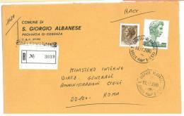 SAN GIORGIO ALBANESE  87060  PROV. COSENZA  -  1980 - R  - STORIA POSTALE DEI COMUNI D´ITALIA - POSTAL HISTORY - Affrancature Meccaniche Rosse (EMA)